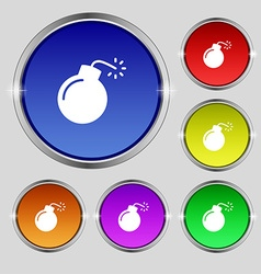 Bomb icon sign Round symbol on bright colourful vector