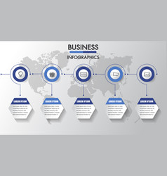 business infographics process timeline 6 steps vector image