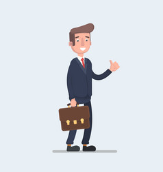 businessman shows a sign thumb up business man vector image