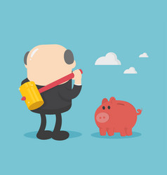 businessman with big hammer smash piggy bank vector image
