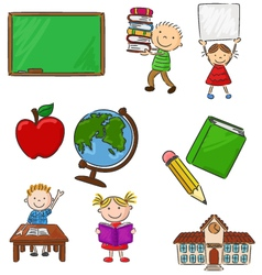 Cartoon assorted school supplie and activitie vector image