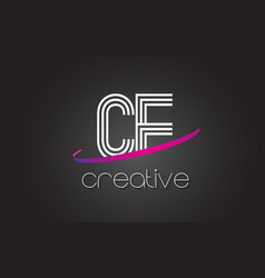Ce c e letter logo with lines design and purple vector