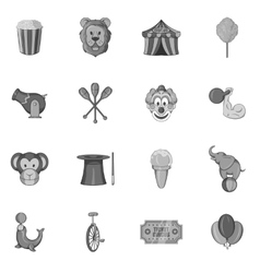 Circus icons set in black monochrome style vector