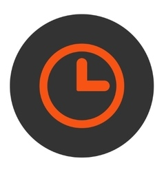Clock flat orange and gray colors round button vector