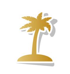 Coconut palm tree sign golden gradient vector