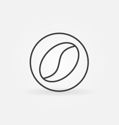 Coffee bean in circle icon in thin line vector