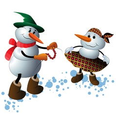 Cute Christmas Character Snowmen vector image