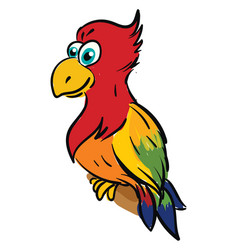 Cute smiling colorful parrot on white background vector