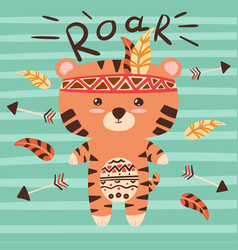 Cute tiger characters roar vector