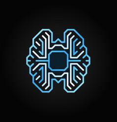 Digital brain colorful outline icon on dark vector