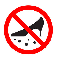 Dirty shoes are forbidden prohibition sign vector