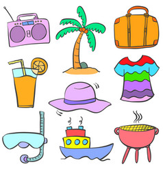doodle of cartoon object summer vector image