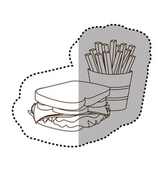 Figure sandwich with fries french icon vector