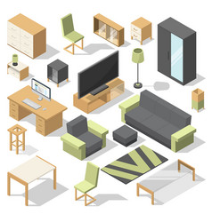 Furniture set for bed room isometric vector
