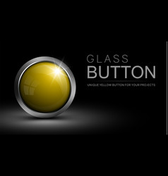 glass yellow button vector image