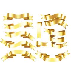 gold ribbon banner golden award or celebration vector image