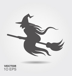halloween witch flying on a broomstick silhouette vector image