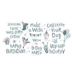 Happy birthday lettering calligraphy set festive vector