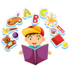 Happy boy reading storybook alone vector