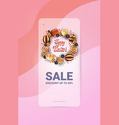 happy easter holiday celebration sale banner flyer vector image