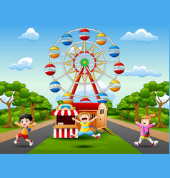 Happy kids jumping and laughing in amusement park vector