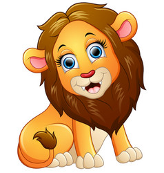 Happy lion cartoon sitting vector