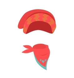Hat Contemporary Red Headwear for Girls and Scarf vector image