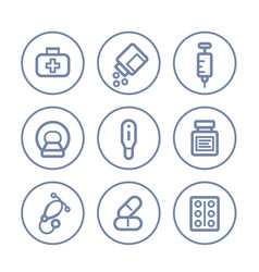 Healthcare medical icons on white linear style vector