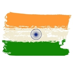 India flag painted by brush hand paints vector image