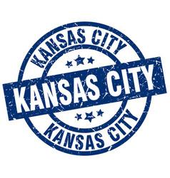 kansas city blue round grunge stamp vector image