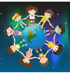 kids around globe vector image