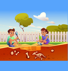 Kids playing in game with fossil dinosaurs vector
