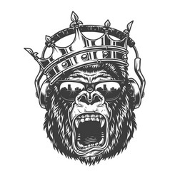 King gorila face vector