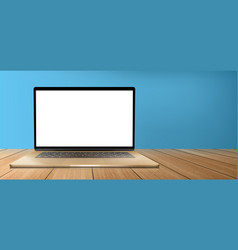 laptop computer with white screen on wooden table vector image