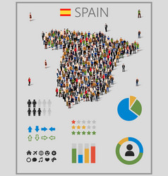 large group people in form spain map vector image
