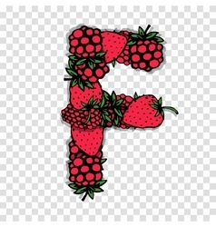 Letter F made from red berries sketch for your vector image