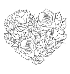 Line rose heart shape vector