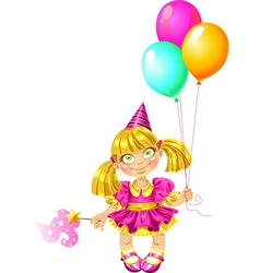 Little fairy with balloons vector image