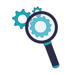 magnifying glass with gears symbol blue lines vector image