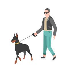 man walking dog happy person walks and vector image