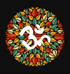 Mandala made of leaves with om sign vector