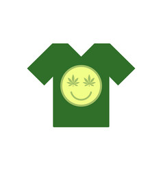 marijuana smiley face cannabis smile green tee vector image