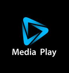 Media play blue glowing symbol vector