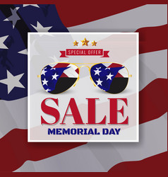 Memorial day sale promotion banner background vector