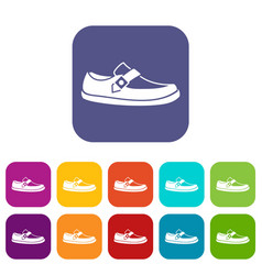Men moccasin icons set vector