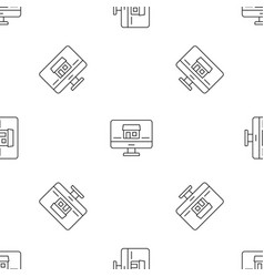monitor house security pattern seamless vector image