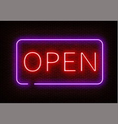 neon open sign light isolated on dark red b vector image