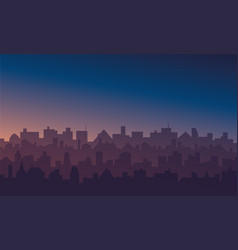night cityscape with sunrise or sunset background vector image