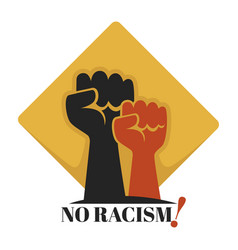 No racism isolated icon human fists unity vector