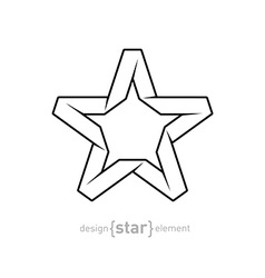 One color Imitation of Origami Star from paper on vector image